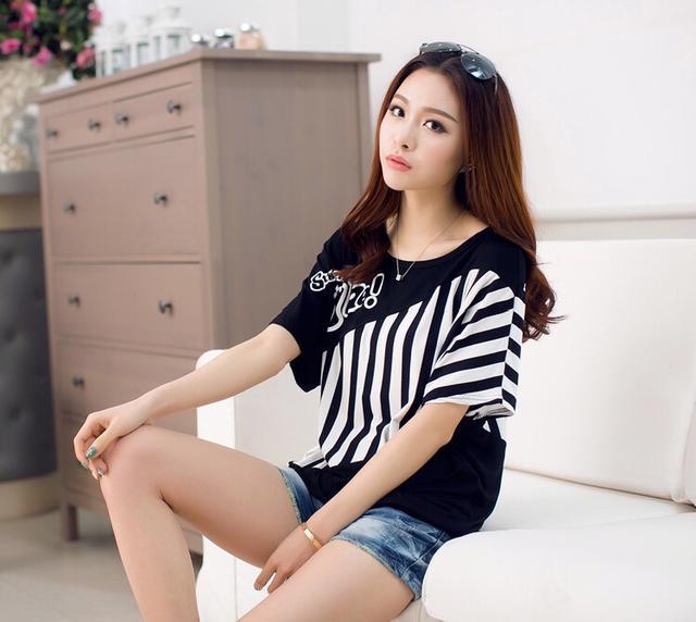 夏装韩版大码女装蝙蝠衫条纹t恤宽松显瘦藏肉短袖T恤女装百搭上衣
