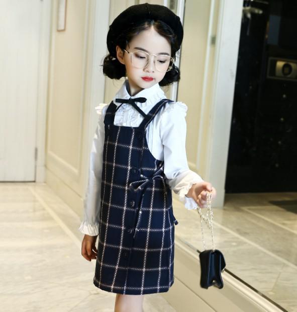 11 110-160 童裝 英倫格紋背帶裙(2色)01191