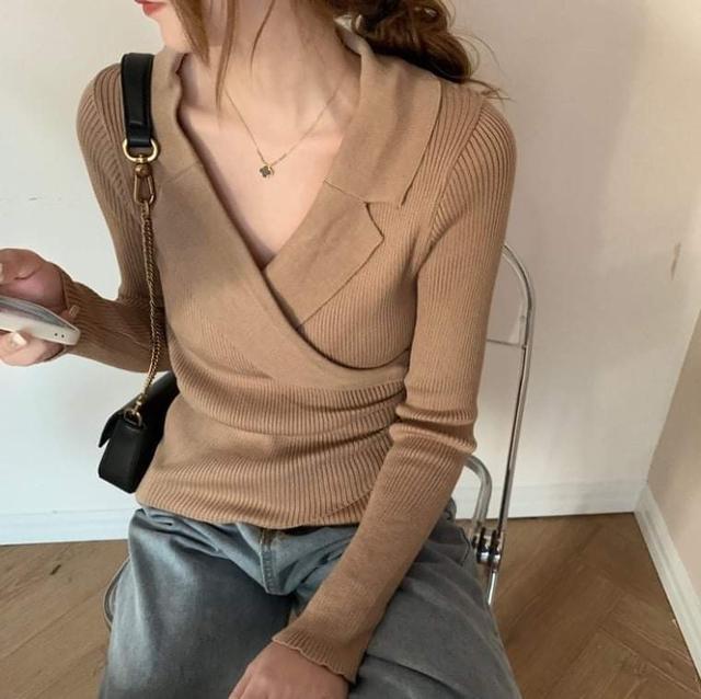 韓版V領修身收腰針織衫