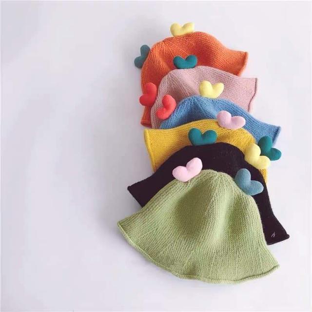 彩色愛心兒童針織漁夫帽