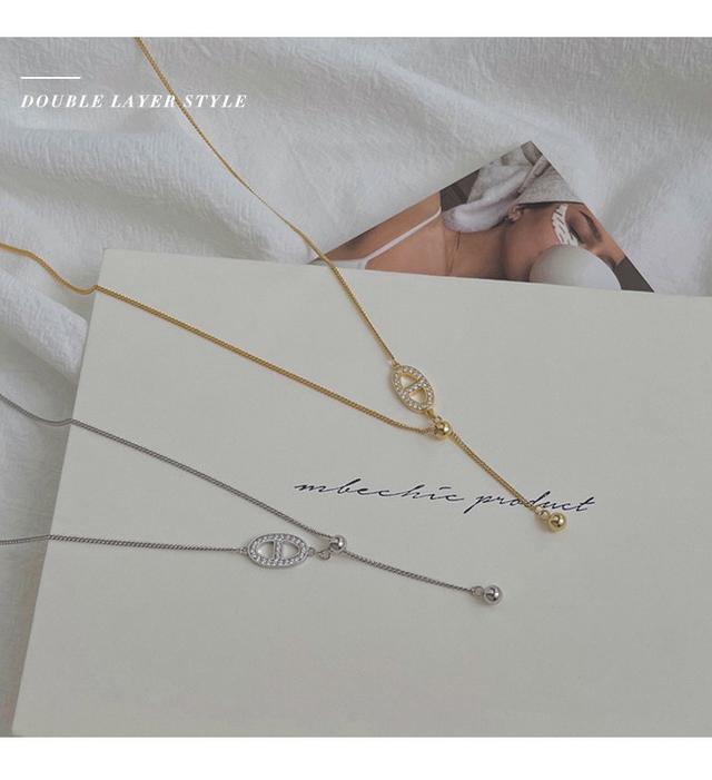 不對稱單邊流蘇鋯石吊墜925純銀項鏈女小眾設計感韓版IG鎖骨鏈子