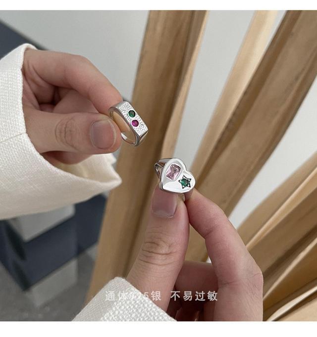 彩色鋯石愛心925純銀戒指女生時尚氣質精緻小眾韓版IG風開口指環