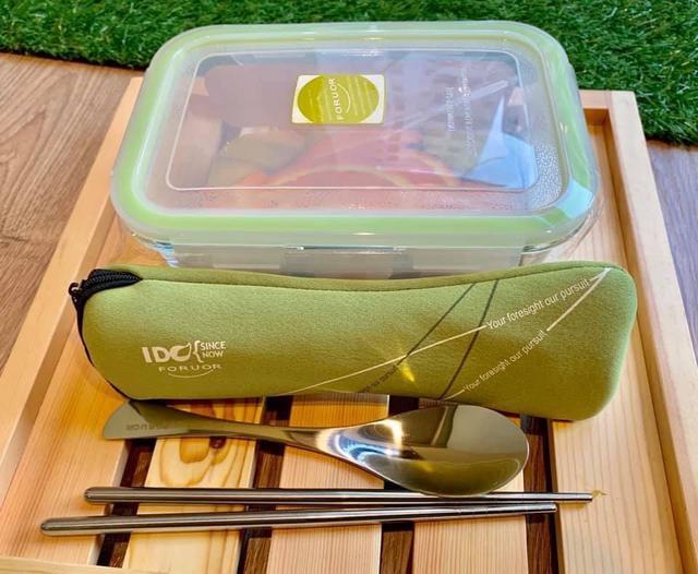 法國FORUOR 耐熱玻璃保鮮盒+304不鏽鋼餐具四件組/容量800ml