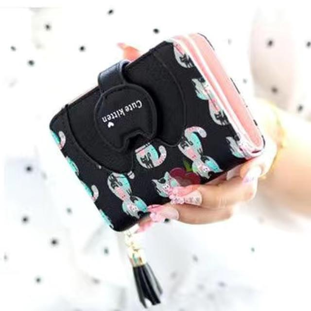 2020新款錢包女學生韓版短款可愛貓咪迷你零錢包女生卡包
