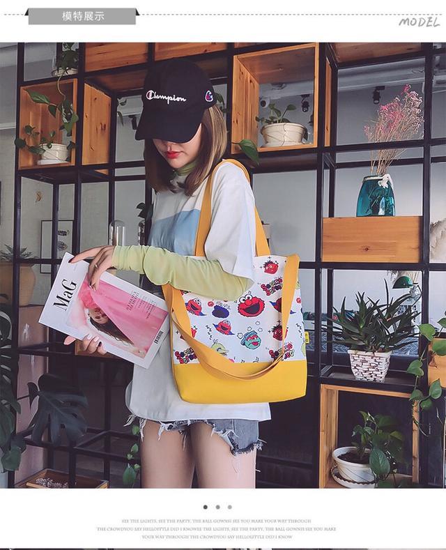 韓版芝麻街帆布包
