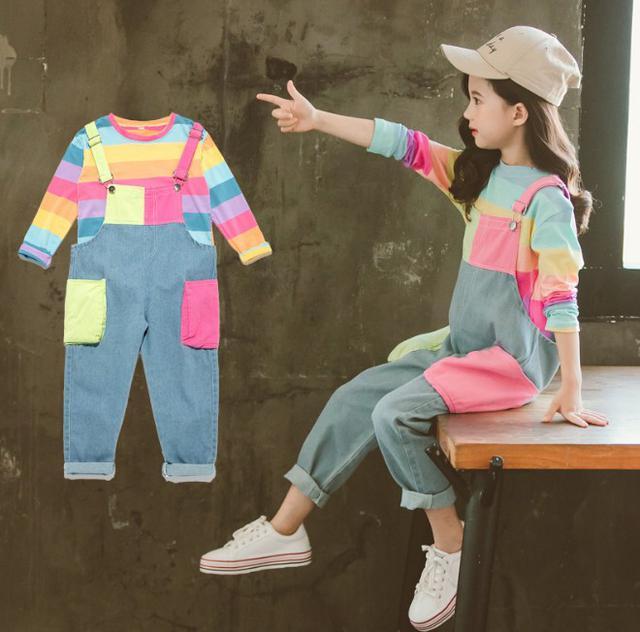 11 110-160 童裝 條紋T恤+牛仔褲 兩件套 4791