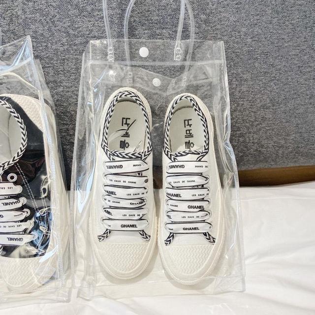 小香風帆布鞋帆布鞋黑白2020春夏新款潮流絲綢鞋帶板鞋