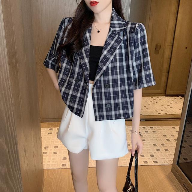【預購】韓版寬鬆短袖格子外套