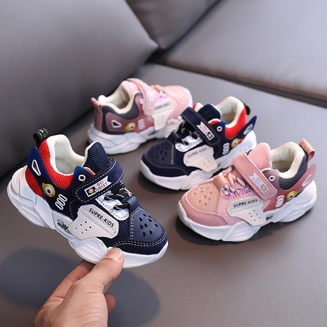男童機能鞋子2020年秋款透氣網布女童運動跑步鞋兒童寶寶學步鞋