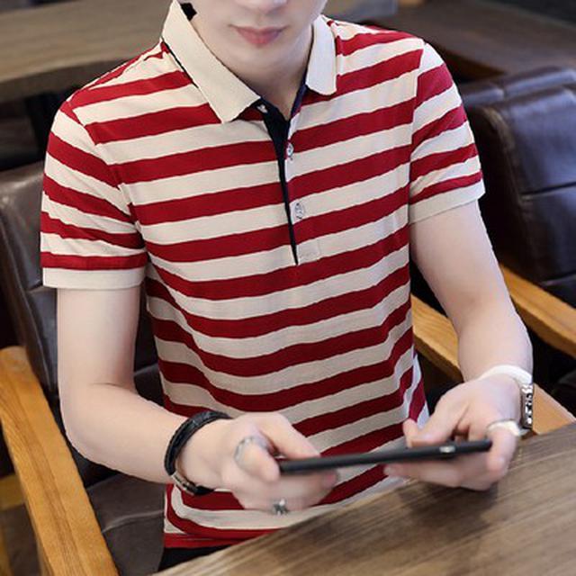 06 M-4XL 優質加大棉條紋短袖T恤(3色)
