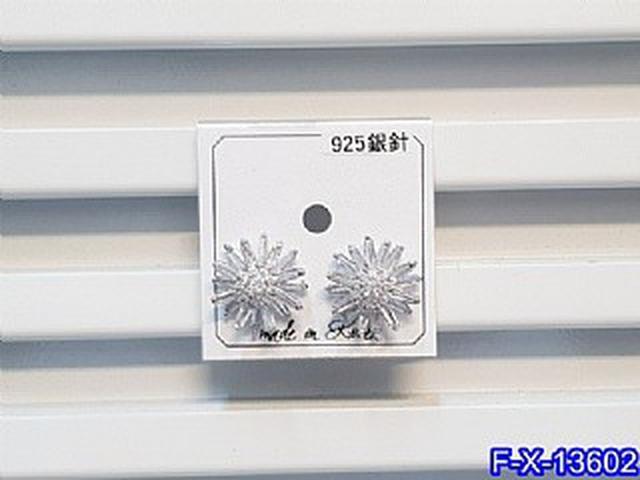 正韓S925純銀 雙層鋯石花朵耳環   耳針 韓式