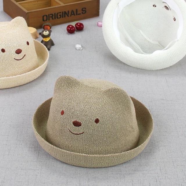 🔥廠商現貨🔥2021新款 童帽 小熊造型兒童夏季遮陽防曬草帽批發
