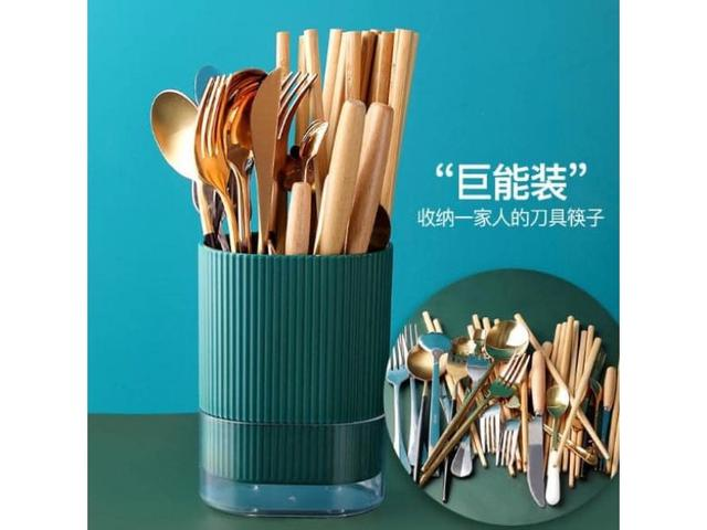 #預購G1029 - 大容量雙格餐具瀝水收納筷架桶