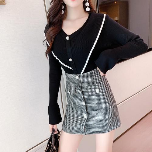 11 S-XL 千鳥格半裙A字短裙(兩色