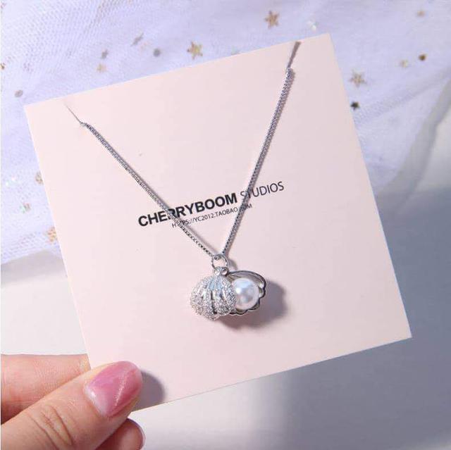 韓國鑲鑽珍珠貝殼造型S925銀吊墜項鍊