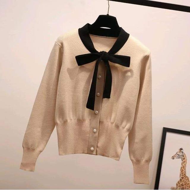 (預購S) 韓國甜美氣質蝴蝶結假開衫針織衫