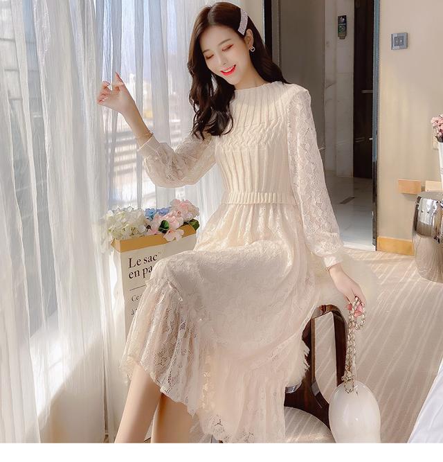 12/2 S-L 針織拼接蕾絲荷葉邊連衣裙 (2色)