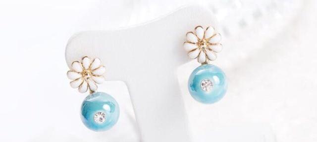 珍珠與雛菊耳環♥2對