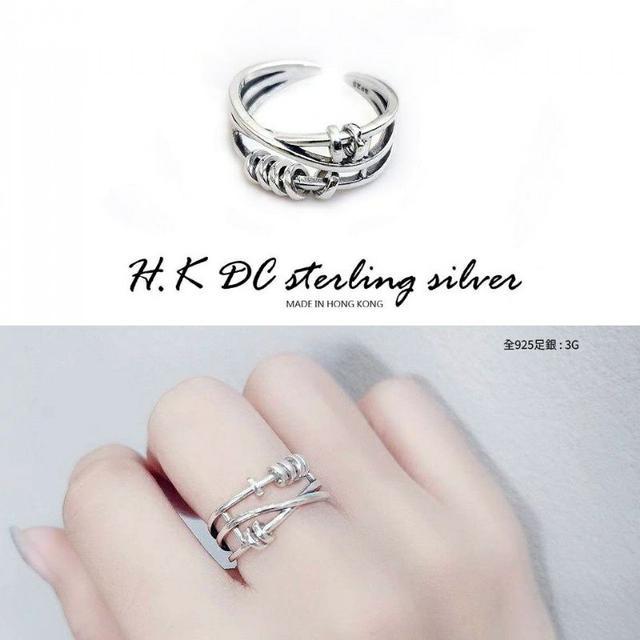 H.K DC925純銀IG爆款-angelababy明星同款時尚戒指-銀圈可動