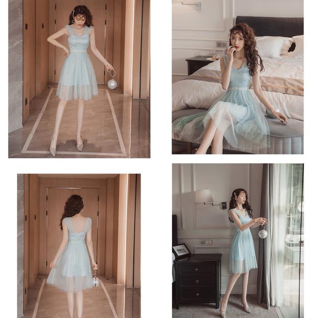 預購6-9天韓版時尚氣質網紗連衣裙