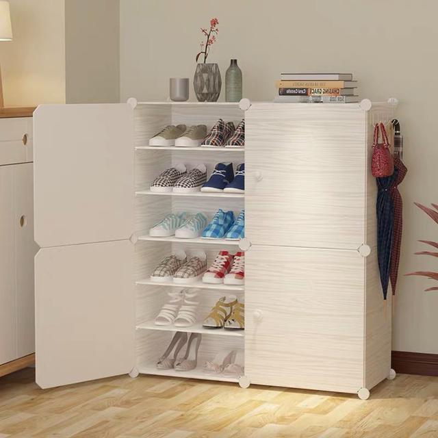 DIY升級拉手創意鞋櫃 仿木紋膜片鞋櫃 經濟型鞋櫃 家用門口鞋櫃