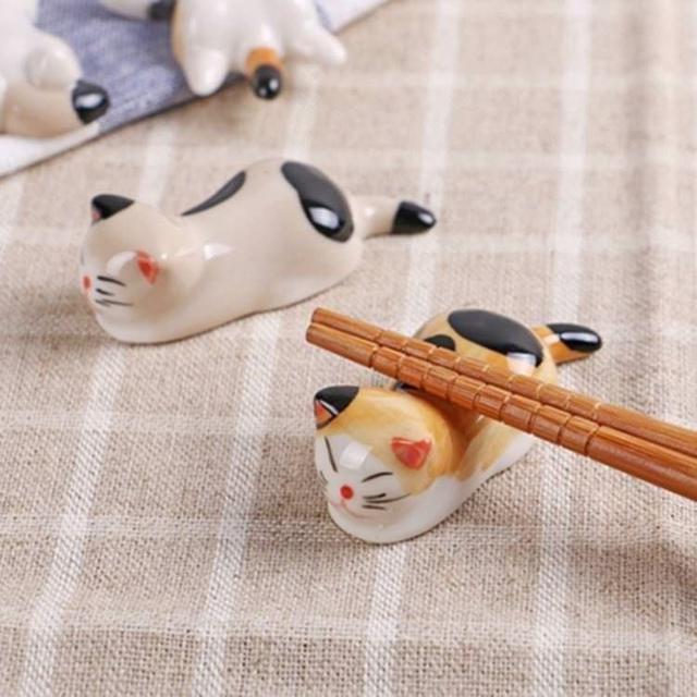🔥日式陶瓷可愛貓咪筷子架6隻一組🔥