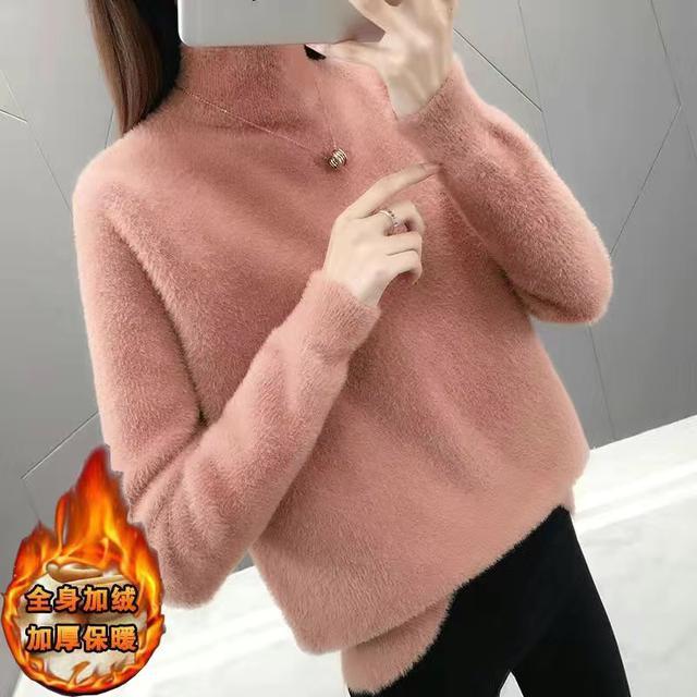 (加絨款)2020冬季韓版新款仿水貂絨半高領毛衣女寬松套頭加厚針織衫打底衫