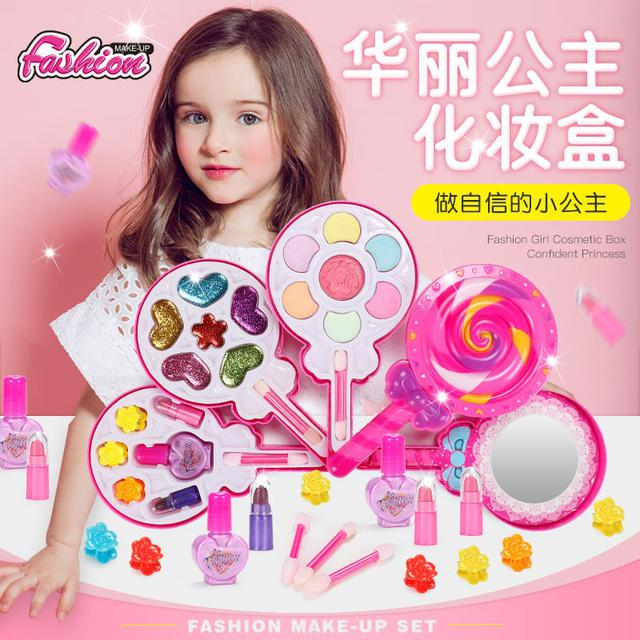 預購 兒童辦家家化妝品玩具 女孩子公主棒棒糖彩妆盒指甲油眼影口红套装