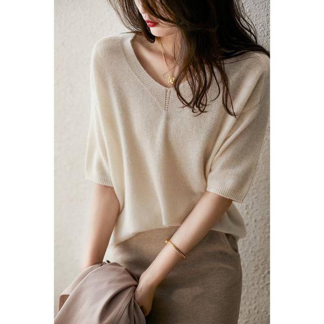 (L)預購 款新款針織V領短袖打底衣