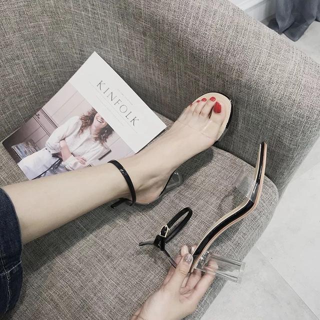 新款韓版百搭透明一字露趾羅馬鞋 高跟鞋