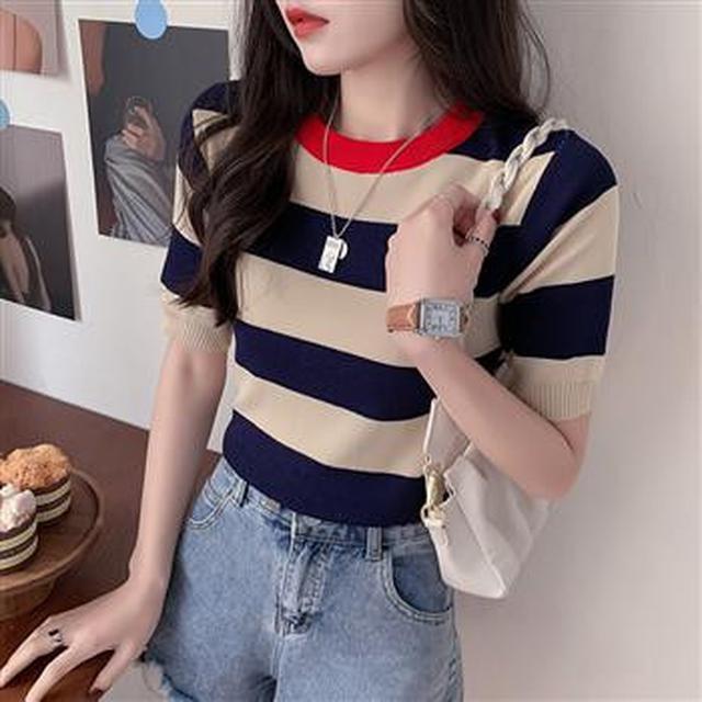 F60391 拼色條紋修身針織衫(三色)