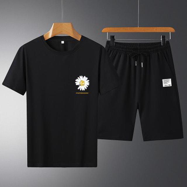0617 男女情侶款 大碼(S-4XL)純棉印花短袖T恤+短褲運動 套裝(2色)
