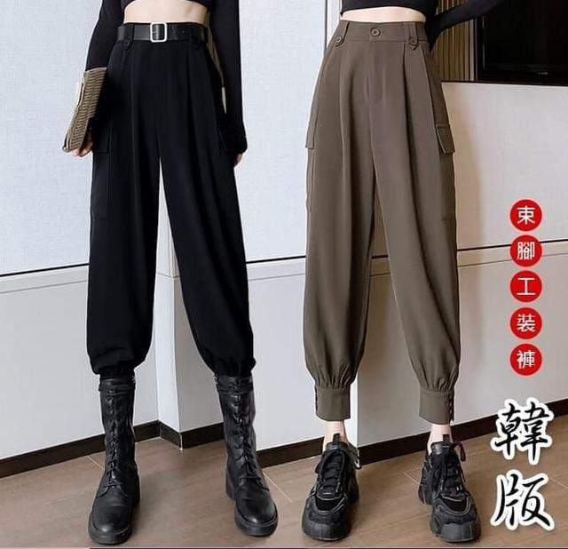 E806個性束腳鈕釦高腰工裝褲