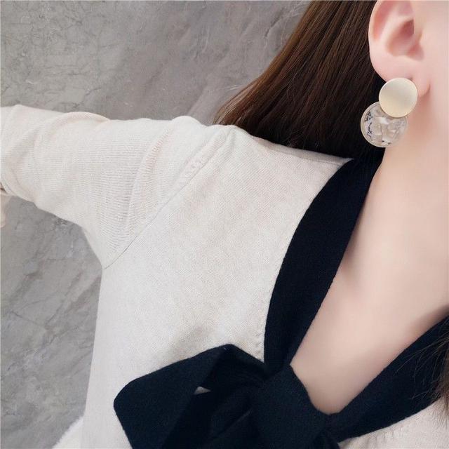 🌟現貨🌟正韓大理石紋圓形耳環