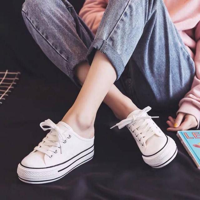 韓妞穿搭 厚底內增高 半拖 帆布鞋 懶人鞋