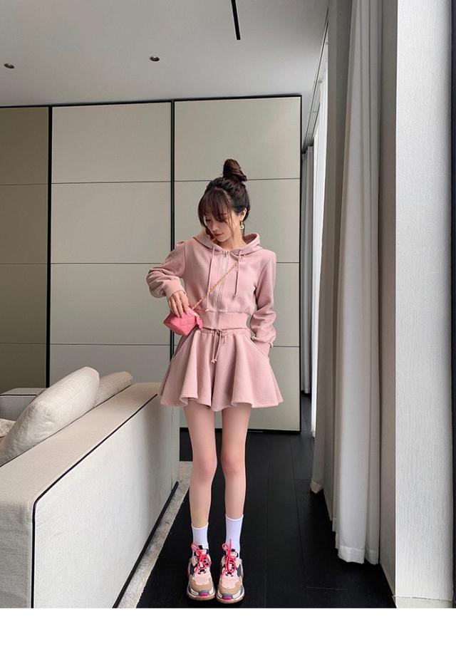 34629  休閒長袖抽繩連帽衛衣+闊腿褲裙 套裝
