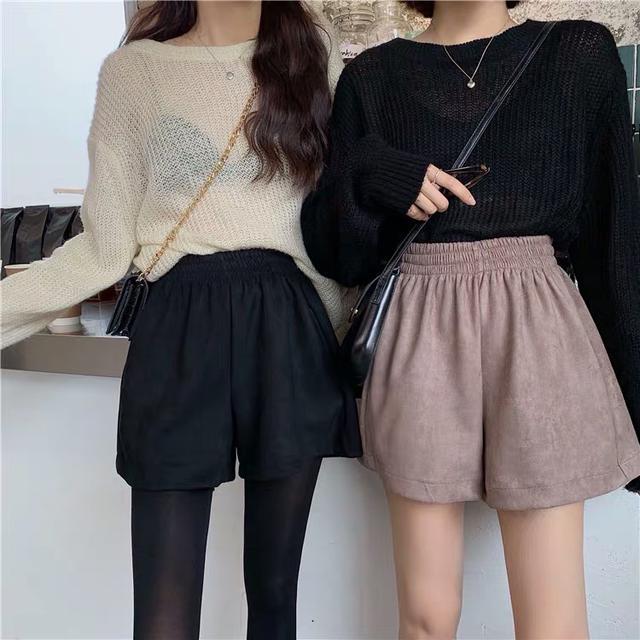 韓版高腰麂皮絨短褲