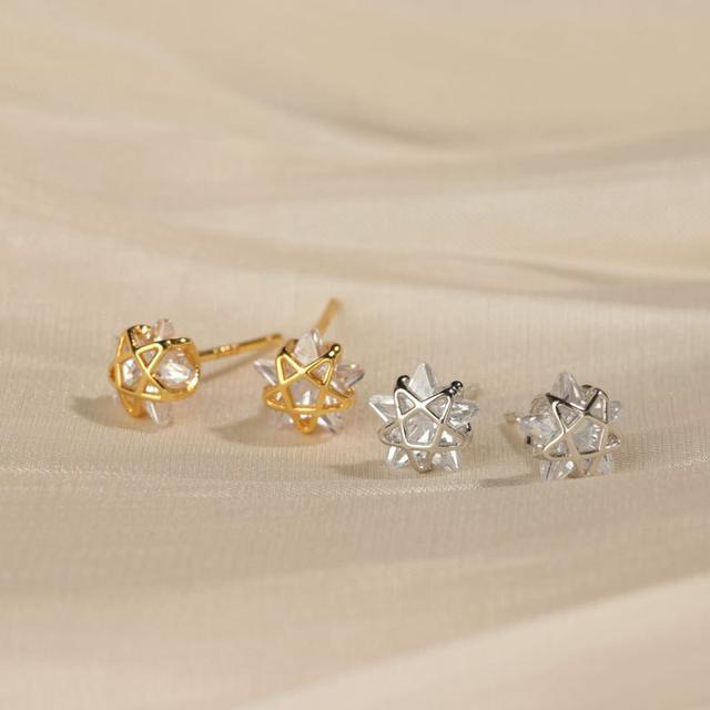 S925純銀小星星耳釘五角星耳環輕奢感網紅百搭耳飾新款個性潮