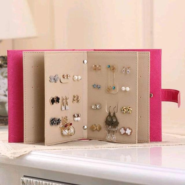 (預購S) 韓國全皮革耳環飾品收納書