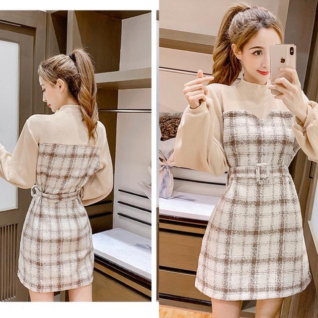 預購韓版格子拼接粗花呢子針織連衣裙