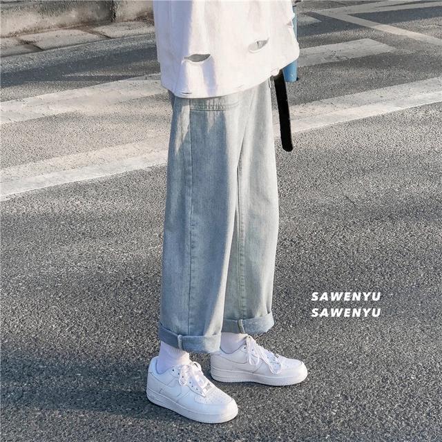 港風男褲春季褲子男寬松學生韓版闊腿直筒牛仔褲男九分褲潮流百搭