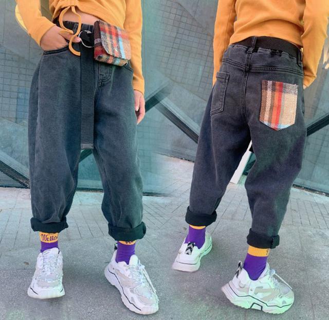 11 120-165 童裝 加絨嘻哈垮褲牛仔褲