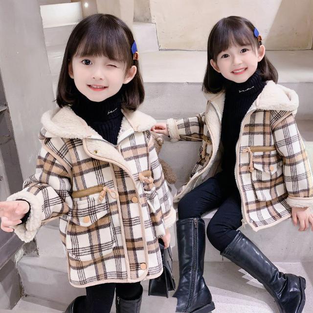 女童2021冬季新款格子中長款一體大衣