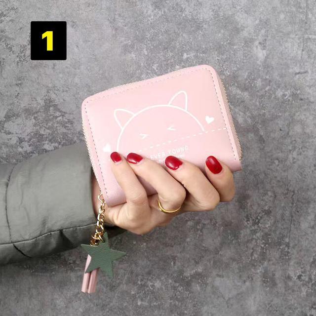 貓咪單拉短款流蘇錢包女呆萌可愛迷你女學生手拿零錢包硬幣包卡包