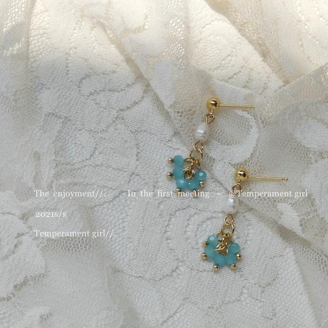 森系手作設計感 925銀針淡水珍珠玻璃水晶耳環女耳飾耳釘