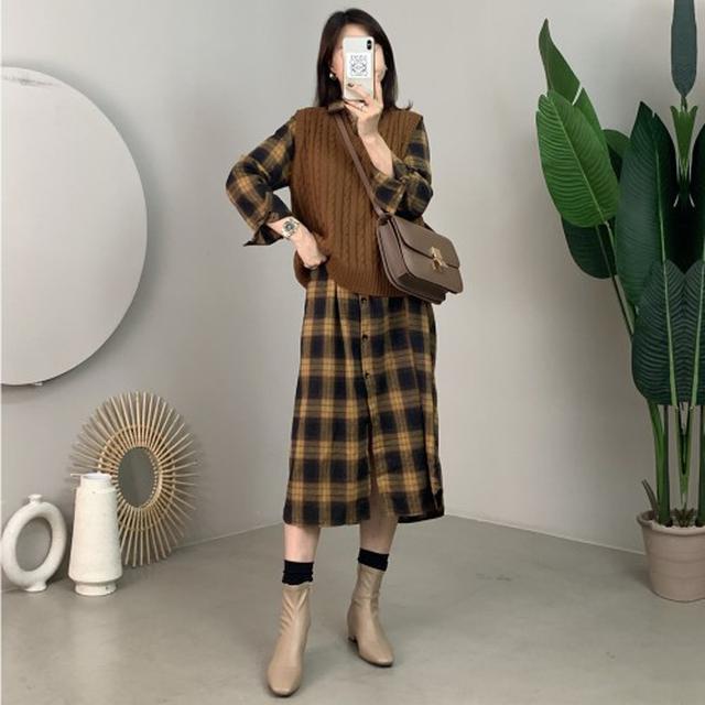 0210 M-2XL 文藝拼色格子全棉磨毛連衣裙(3色) 016138