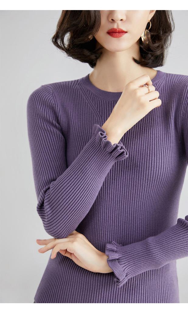 中高檔韓版修身圓領針織衫素色秋冬毛衣-女生打底抖音衣服推薦