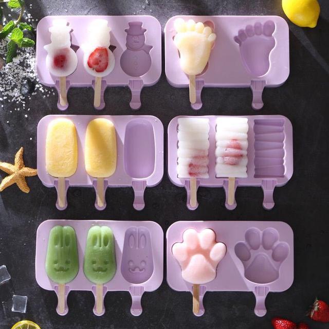 創意DIY烘焙模具可愛卡通自製雪糕模食品級矽膠蛋糕模配50根棒子