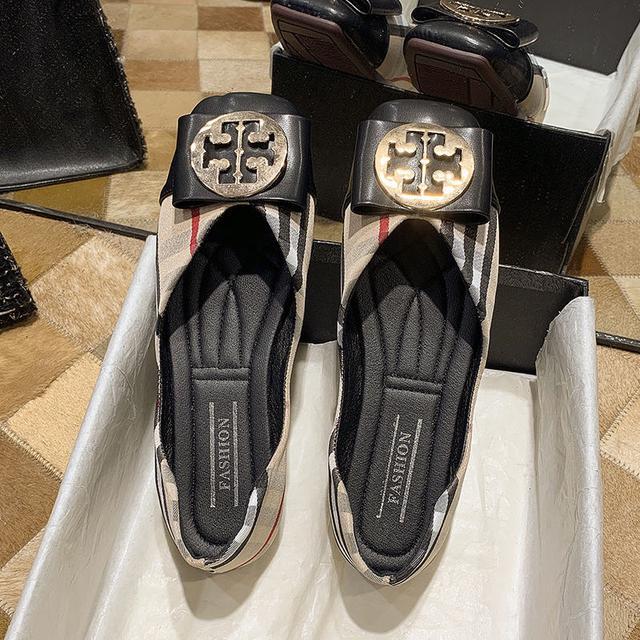 小香風蝴蝶結金屬扣格布淺口瓢鞋女英倫平底豆豆船鞋穆勒單鞋