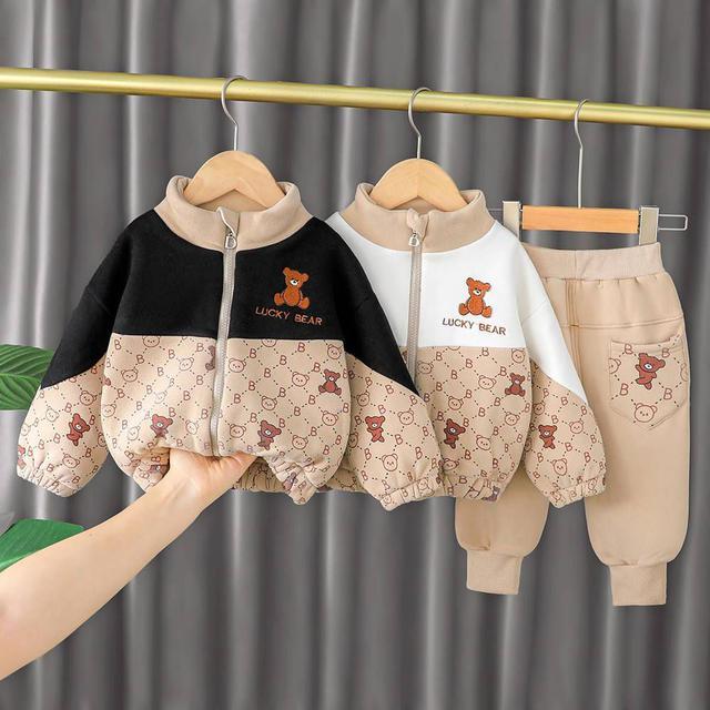 『秋冬-預購』韓版格子熊拼色加絨套裝
